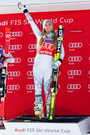 1st place: Cortina d'Ampezzo, Italy 23 January 2016. VONN Lindsey (Usa)  takes 1st place during the Audi Fis Alpine Ski World Cup Women's downhill Race