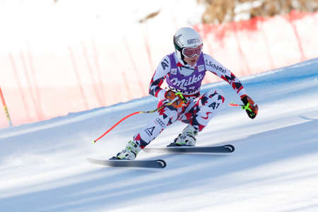 Cortina d'Ampezzo, Italy 23 January 2016. DENGSCHERZ Dajana (Aut) competing in the Audi Fis Alpine Skiing World Cup Women's downhill Race on the Olympia Course in the dolomite mountain range.