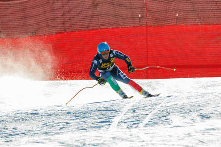 premier: Val Gardena, Italy 19 December 2015.  Federico Paini (Ita) Forerunners in the Audi Fis Alpine Skiing World Cup Mens Downhill Race on the Saslong Course in the dolomite mountain rang