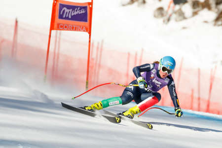 Cortina dAmpezzo, Italy 23 January 2016. STUFFER Verena (Ita) competing in the Audi FIS Alpine Skiing World Cup Womens Downhill Race on the Olympia Course in the Dolomite mountain range.