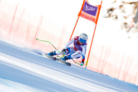 Cortina d'Ampezzo, Italy 23 January 2016. NUFER Priska (Sui) competing in the Audi Fis Alpine Skiing World Cup Women's downhill Race on the Olympia Course in the dolomite mountain range. Editorial