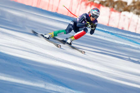 marta: Cortina dAmpezzo, Italy 23 January 2016. BASSINO Marta (Ita) competing in the Audi FIS Alpine Skiing World Cup Womens Downhill Race on the Olympia Course in the Dolomite mountain range.