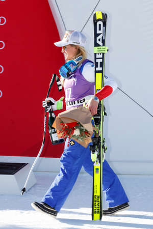 fis: Cortina dAmpezzo, Italy 23 January 2016. GUT Lara takes 3rd place During The Audi FIS Alpine Ski World Cup Womens Downhill Race Editorial