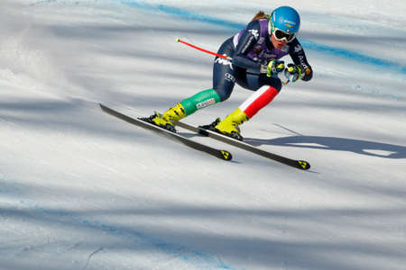 Cortina dAmpezzo, Italy 23 January 2016. STUFFER Verena (Ita) competing in the Audi FIS Alpine Skiing World Cup women downhill race on the Olympia Course in the Dolomite mountain range. Editorial