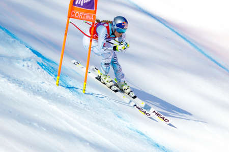 Cortina dAmpezzo, Italy 23 January 2016. VONN Lindsey (USA) competing in the Audi FIS Alpine Skiing World Cup Womens Downhill Race on the Olympia Course in the Dolomite mountain range. Editorial