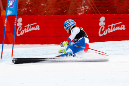 fis: Cortina dAmpezzo, Italy24 January2016. HAEHLEN Joana (Sui) competing in the Audi FIS Alpine Skiing World Cup Womens Super G on the Olympia Course in the Dolomite mountain range