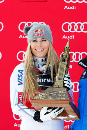 1st place: Cortina dAmpezzo, Italy 24 January 2016. VONN Lindsey (Usa)  takes 1st place during the Audi Fis Alpine Ski World Cup Womens Super G