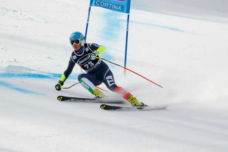 Cortina dAmpezzo, Italy 24 January 2016. STUFFER Verena (Ita) competing in the Audi FIS Alpine Skiing World Cup Womens Super G on the Olympia Course in the Dolomite mountain range.