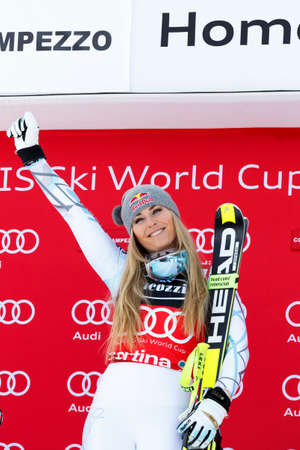 1st place: Cortina dAmpezzo, Italy 24 January 2016. VONN Lindsey (USA) takes 1st place During The Audi FIS Alpine Ski World Cup Super G
