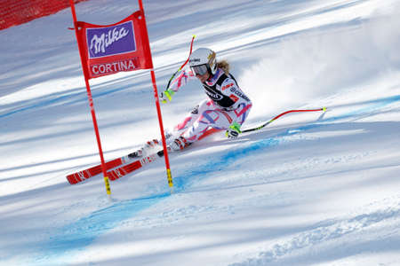 jennifer: Cortina dAmpezzo, Italy 24 January 2016. Jennifer PIOT (Fra) competing in the Audi FIS Alpine Skiing World Cup Womens Super G on the Olympia Course in the Dolomite mountain range.