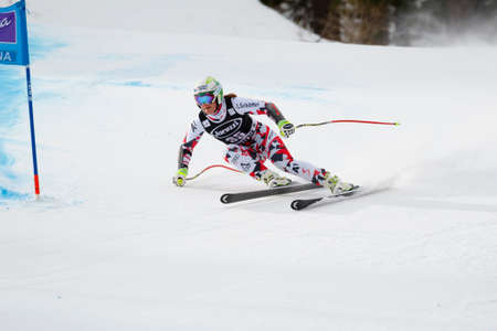 fis: Cortina d�Ampezzo, Italy24 January2016. SIEBENHOFER Ramona (Aut) competing in the Audi Fis Alpine Skiing World Cup Women�s Super G on the Olympia Course in the dolomite mountain range.