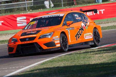 enzo: Imola, Italy - September 25, 2016: A Seat Leon Cup Racer of Gruppo Piloti Forlivesi, driven by Giacon Kevin,  the Seat Leon Cup in Autodromo Enzo & Dino Ferrari , in Imola, Italy. Editorial