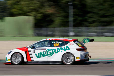 enzo: Imola, Italy - September 25, 2016: A Seat Leon Cup Racer of Brc Team, driven by Biraghi Alberto,  the Seat Leon Cup in Autodromo Enzo & Dino Ferrari , in Imola, Italy.