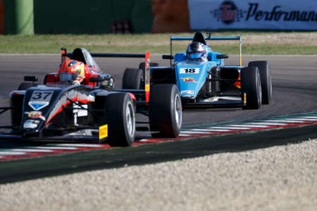 marcos: Imola, Italy - September 25, 2016: A Tatuus F4 T014 Abarth of Jenzer Motorsport Team, driven by Siebert Marcos,  the Italian F4 Championship Powered by Abarth in Autodromo Enzo & Dino Ferrari , in Imola, Italy.