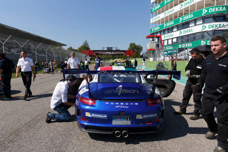 Imola, Italy - September 25, 2016: Cars on track at race of Porsche Carrera Cup Italia car racing in Imola at Enzo & Dino Ferrari Circuit, September 25, 2016, in Imola, Italy.