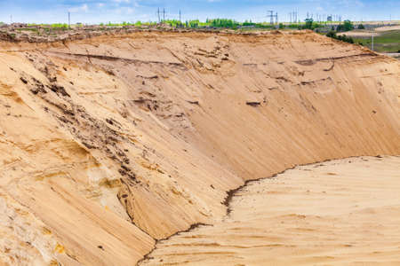 sand pit: View of the sand pit mining of sand for Construction Stock Photo