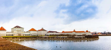 nymphenburg palace: panoramic view of the Nymphenburg Palace in Munich; view of the Nymphenburg Palace in Munich from the pond