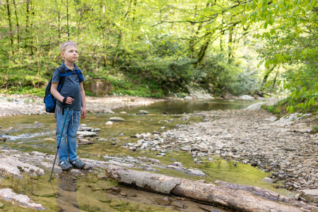 The boy traveler with a backpack and trekking poles passes a stream along a log
