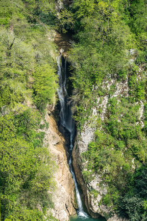 The view from the height of the high waterfall falling into a lake in a green forest. Waterfall in a mountain gorge. Stok Fotoğraf