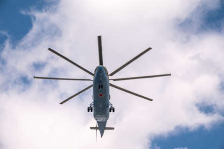 Moscow, Russia - May, 05, 2021: The Mi-26 helicopter flies over Red Square during the General rehearsal of the parade celebrating Victory Day in Moscow Éditoriale