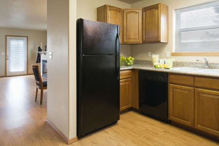 View of a kitchen with a black refrigerator and wood cabinets, showing a partial view of the dining room and living room areas. Horizontal shot. photo