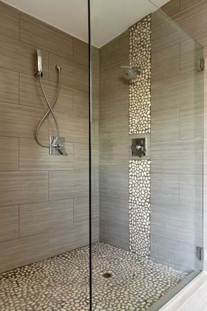 bathroom tile: Contemporary Shower Featuring Dual Heads