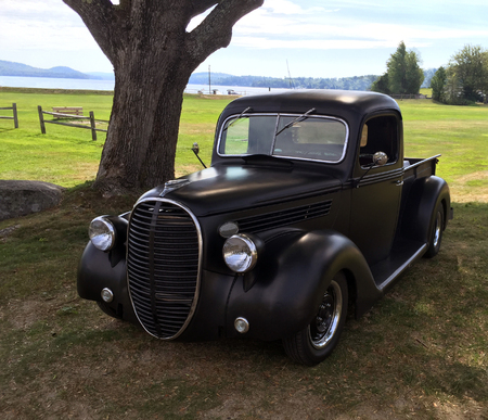 classic old black pickup parked in a field under the shade of a large tree with lake and mountains in the distance