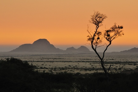 Sunset from Spitzkoppe, Namibia with Small Spitzkoppe in background photo