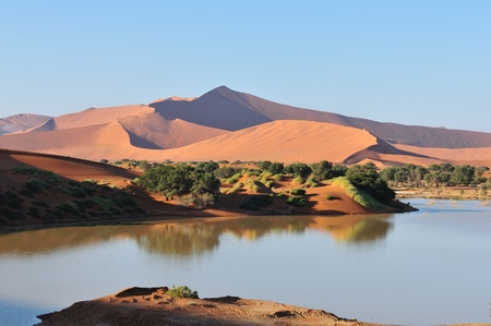 A flooded Sossusvlei in the Namib Desert   Stock Photo