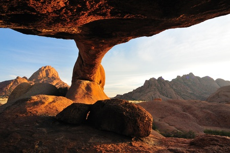 Sunrise at the Bridge, Spitzkoppe, Namibia photo