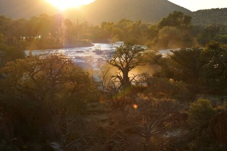 A small portion of the Epupa waterfalls, Namibia at sunrise