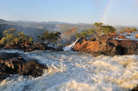 Top of of the Ruacana waterfalls, Namibia at sunrise