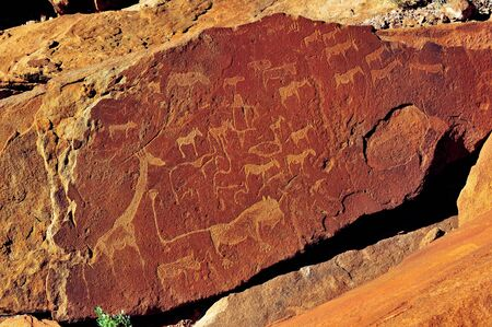 engravings: Rock engravings at Twyfelfontein, Namibia, a World Heritage site Stock Photo
