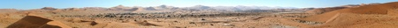 Panorama from ten photos of the Sossusvlei area seen from Deadvlei. Use together with Deadvlei panorama 4 for an overview of the area