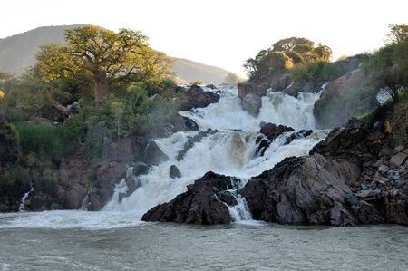 A small portion of the Epupa waterfalls in on the border of Angola and Namibia Stock Photo