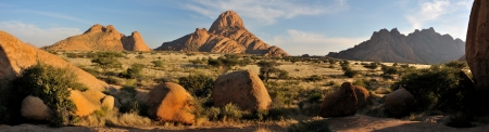 Panorama from three photos of the Spitzkoppe in Namibia photo