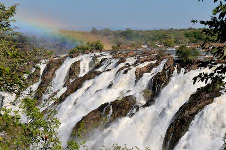 ナミビアとアンゴラの国境にルアカナ滝 写真素材