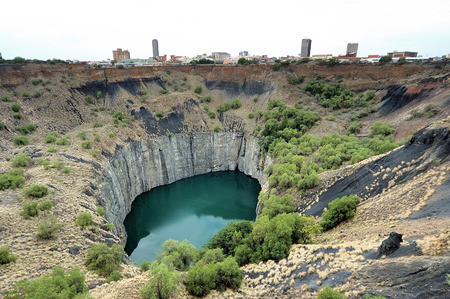 The Big Hole, Kimberley, South Africa, a diamond mine dug entirely by hand  Operations at the mine ceased in 1914