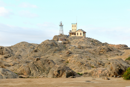 luderitz: The old and the new lighthouses on Shark Island at the seaside town of Luderitz in Namibia
