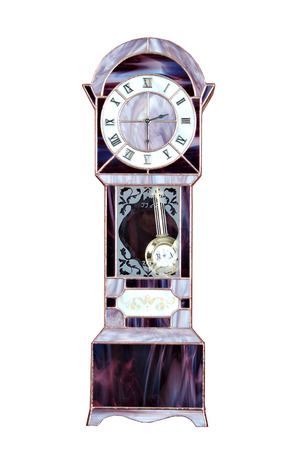 grandfather clock: Fully operational grandfather clock made in stained glass  Stock Photo