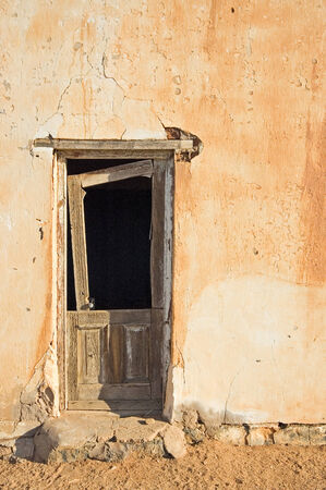 Decaying architecture at sunset on a farm in the Northern Cape Province of South Africa Stock Photo