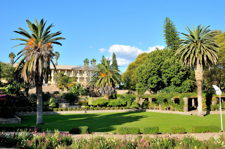 View of the parliament building, called the Tinten Palast or Ink Palace, in Windhoek, Namibia. Stock Photo