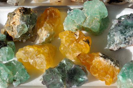 spitzkoppe: Green and yellow Fluorite Crystals from Spitzkoppe in Namibia
