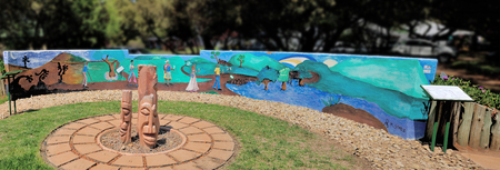 botanical gardens: Panorama of the wall at the Garden of hope in the Free State Botanical Gardens in Bloemfontein, South Africa