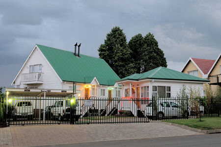 guesthouse: CLARENS SOUTH AFRICA - DECEMBER 2013: Night view of a typical guesthouse in Clarens. Photo taken December 5th, 2014 Editorial