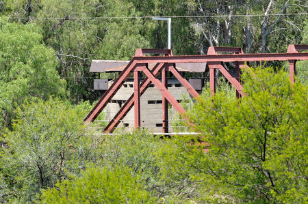 boer: Krom River blockhouse south of Three Sisters in the Northern Cape Province of South Africa. Used by the British troups to defend the railway bridge during the second Boer War 1899-1902.