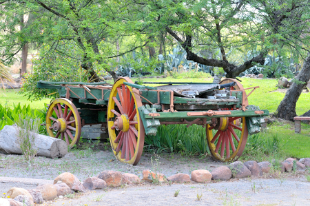 Historical four wheeled ox-drawn wagon on display at Beaufort West in the Northern Cape Province of South Africa Stock Photo