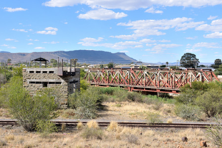 boer: Blockhouse at Beaufort West in the Northern Cape Province of South Africa. Used by the British troups to defend the railway bridge during the second Boer War 1899-1902.