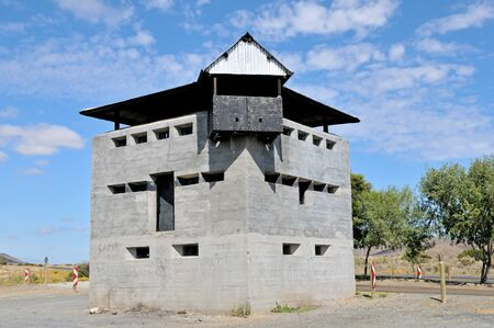 boer: Blockhouse north of Laingsburg at the Geelbek River railway bridge in the Western Cape Province of South Africa
