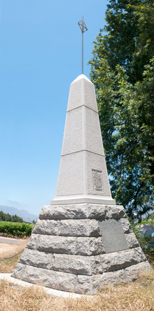 Monument in Paarl in the Western Cape Province of South Africa commemorating the arrival of the Du Preez family with the Hugenots in 1688 Editorial